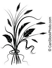 Flower black silhouette on white - Vector black silhouette...