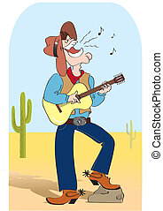 Singing cowboy .Vector comic cartoons man in hat and play a...