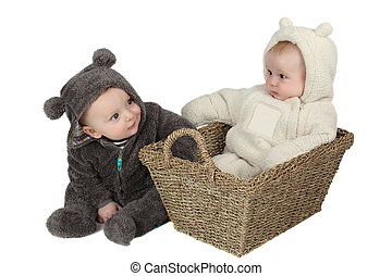 Teddy Friends - Two babies dressed in furry teddy bear suits