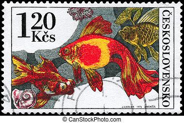 CZECHOSLOVAKIA - CIRCA 1975 Goldfish - CZECHOSLOVAKIA -...