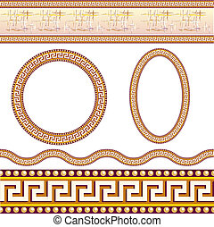 Greek border patterns Illustration on white background