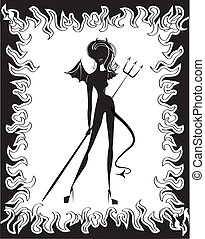 Woman devil on white.Black silhouette image for Halloween
