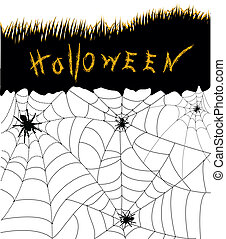 Halloween background card.Web with black spiders