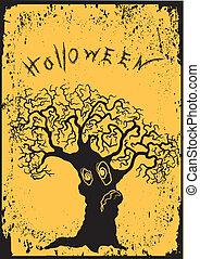 Halloween tree.Vector  graphic image