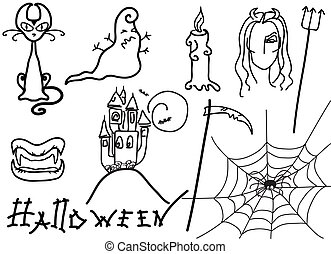 Halloween elements for design on white