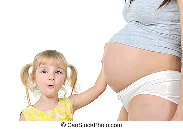 girl with pregnant mother - little girl touches the belly of...