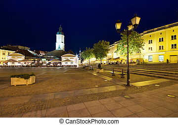 Town square in Bialystok at night, Poland