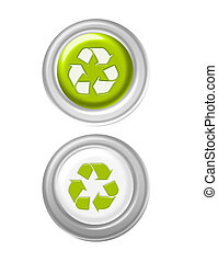recycle buttons - green and white recycle buttons isolated...