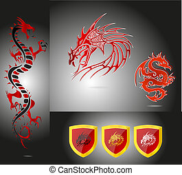 emblems and dragons set red color isolated