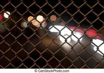 Chain Fence with Bokeh - chain fence with a bokeh blur in...