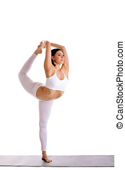 beauty woman exercise yoga - Dancer Pose - young pretty...