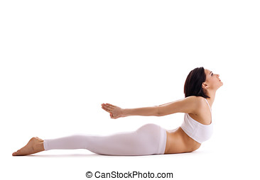 woman exercise bend yoga - cobra pose isolated - young woman...