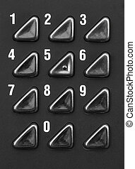 Numeric keypad - Close up of numeric keypad in black and...