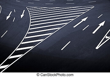 Road markings on asphalt