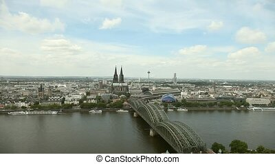 Cologne With Rhine And Kathedral