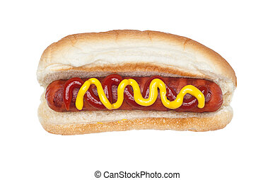 Grilled hotdog - A freshly grilled hotdog on a bun with a...