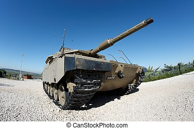 Fisheye view of Israeli Merkava Mark IV tank in Latrun Armored Corps museum