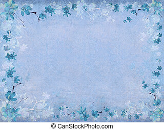Winter blue blossom flower border on blue textured background with text space