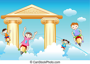 Kids Going to School - illustration of kids flying on pencil...