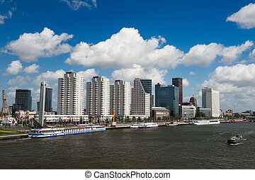 Rotterdam skyline and the meuse river the Netherlands,...