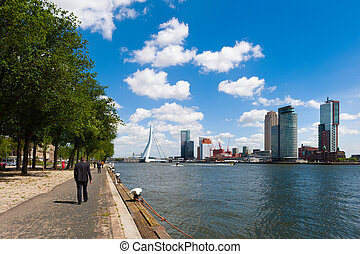 The river Maas in Rotterdam, The Netherlands, Europe