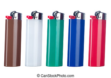 Butane lighters - A mopntage of five new butane lighters...