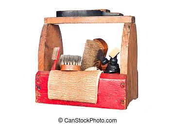 Antique shoe shine box - A complete wooden vintage shoe...