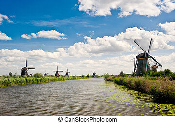 Windmill landscape at Kinderdijk The Netherlands - Windmill...