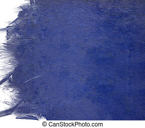 Blue cloudy paint with grunge feather edge isolated - Blue...