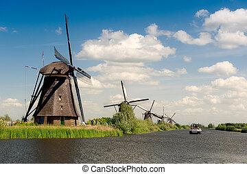 風車, 荷蘭,  kinderdijk, 風景