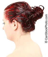 Bright Red Hair Color Piled on Young Woman's Head - Close up...