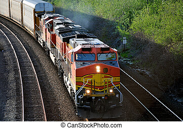 Freight train. - The freight train moving along the...