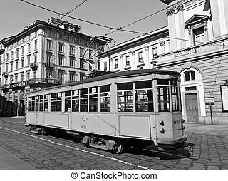 Vintage tram, Milan - Vintage historical tramway train in...