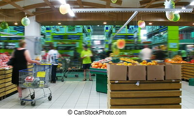 Food Market - People in supermarket, time lapse