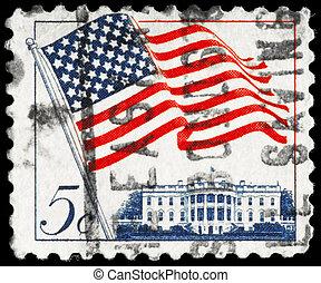 USA - CIRCA 1963 Flag over White House - USA - CIRCA 1963: A...