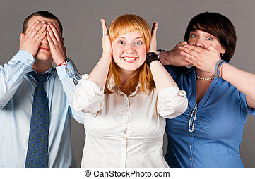 deaf dumb blind, three business people on gray background