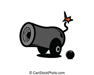 Cartoon Cannon - Vector Cartoon Cannon