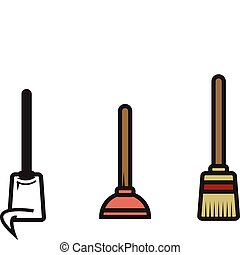 Three Vector Cleaning Utensils - Mop, Plunger and Broom...Oh...