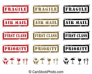 Grungy Shipping Labels And Icons - Three different colored...