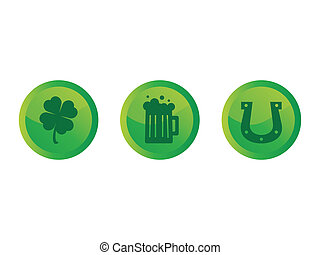 Saint Patricks Day Buttons - Green circle buttons with Saint...