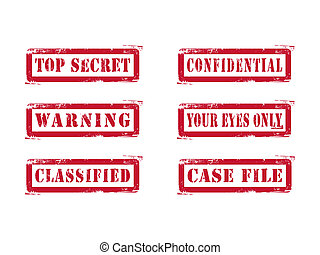 Grungy Top Secret Stamps - Red Top Secret Stamps. Vector...