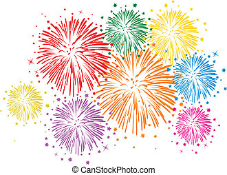vector colorful fireworks on white background - vector...