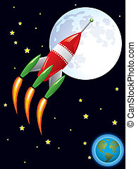 vector stylized retro rocket ship in space flying from earth...