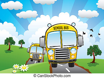 vector yellow school buses on a country road