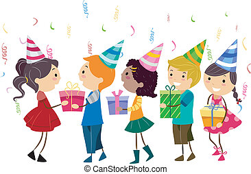 Birthday Gifts - Illustration of Kids Handing Their Gifts to...