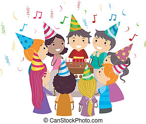 Birthday Party - Illustration of Kids Gathered Around a...