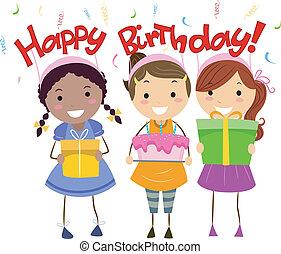 Birthday Present - Illustration of Kids Holding Birthday...