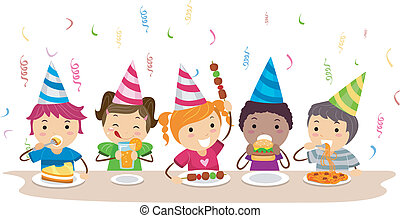 Food Party - Illustration of Kids Having a Food Party