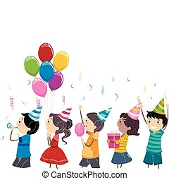 Birthday Parade - Illustration of Kids in a Birthday Parade