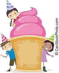 Giant Sundae - Illustration of Kids Gathered Around a Giant...